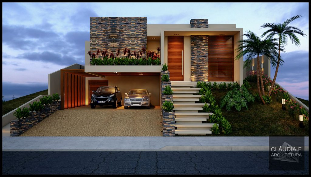 Residência CL - Fachada frontal - Cláudia F Arquitetura